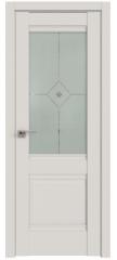 Межкомнатная дверь 2U дарк вайт, стекло узор матовое с прозрачным фьюзингом