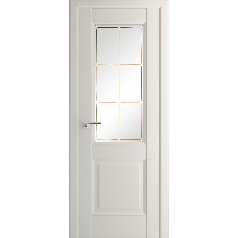 Межкомнатная дверь 90U магнолия сатинат со стеклом