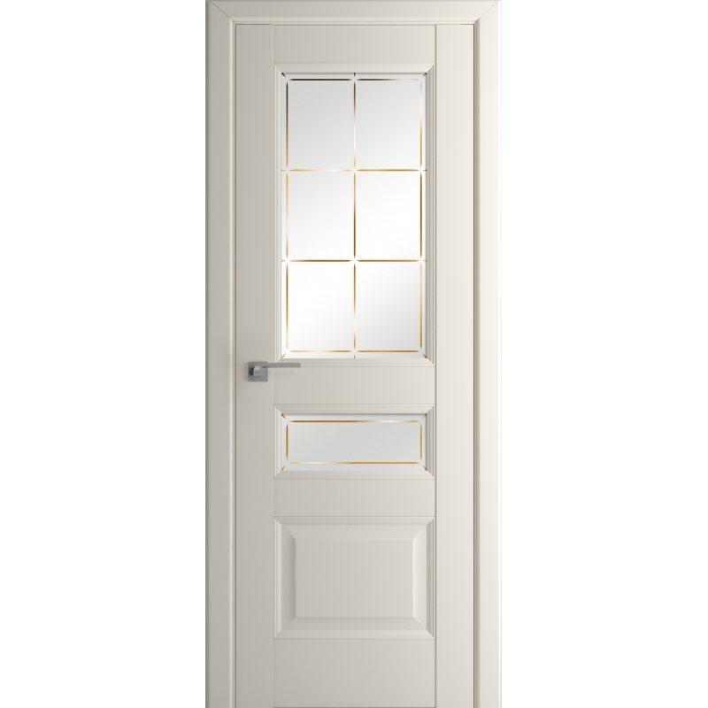 Межкомнатная дверь 94U магнолия сатинат, стекло гравировка 1