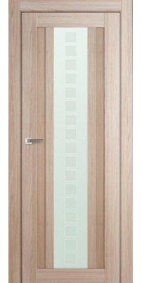Межкомнатная дверь 16X капучино мелинга, стекло квадро