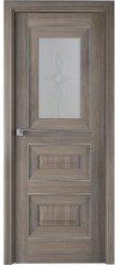 Межкомнатная дверь Классика 26X орех пекан, стекло узор