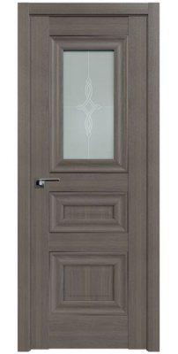 Межкомнатная дверь 26X орех пекан, стекло узор