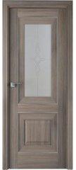Межкомнатная дверь Классика 28X орех пекан, стекло узор