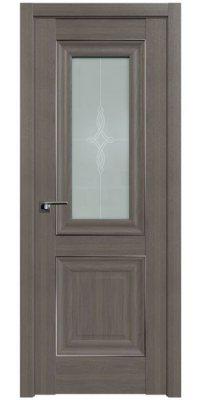 Межкомнатная дверь 28X орех пекан, стекло узор