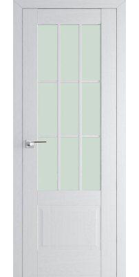 Межкомнатная дверь 104X пекан белый, стекло матовое