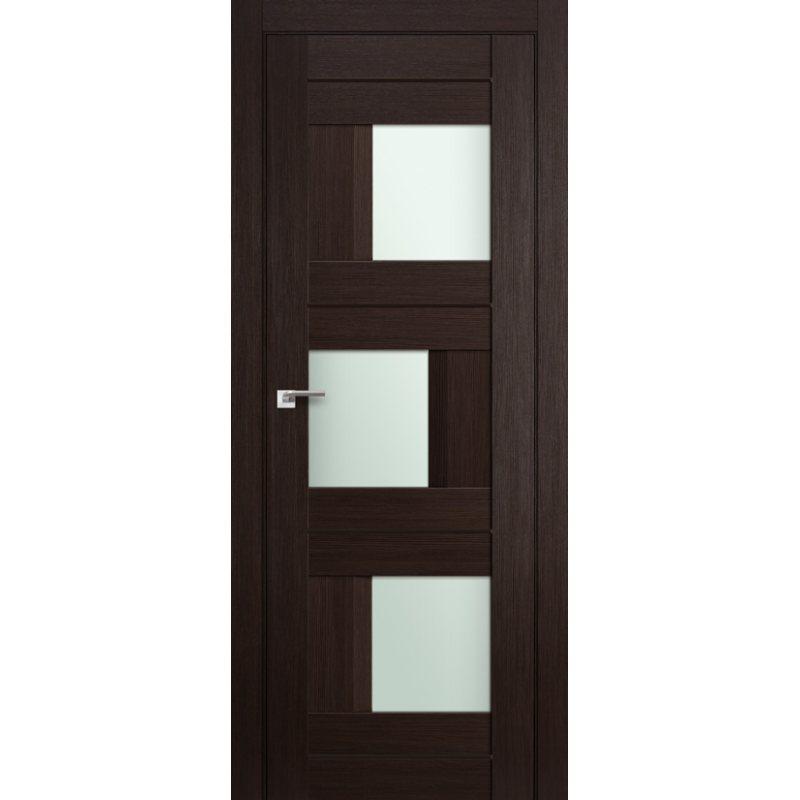 Межкомнатная дверь 13X венге мелинга, стекло матовое молдинг в цвет