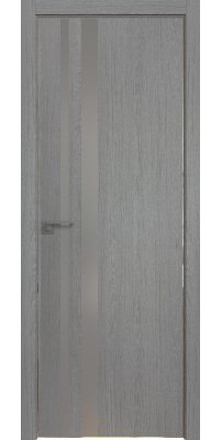 Межкомнатная дверь 16 ZN грувд серый, стекло серебро матлак, кромка 4 стор. ABS