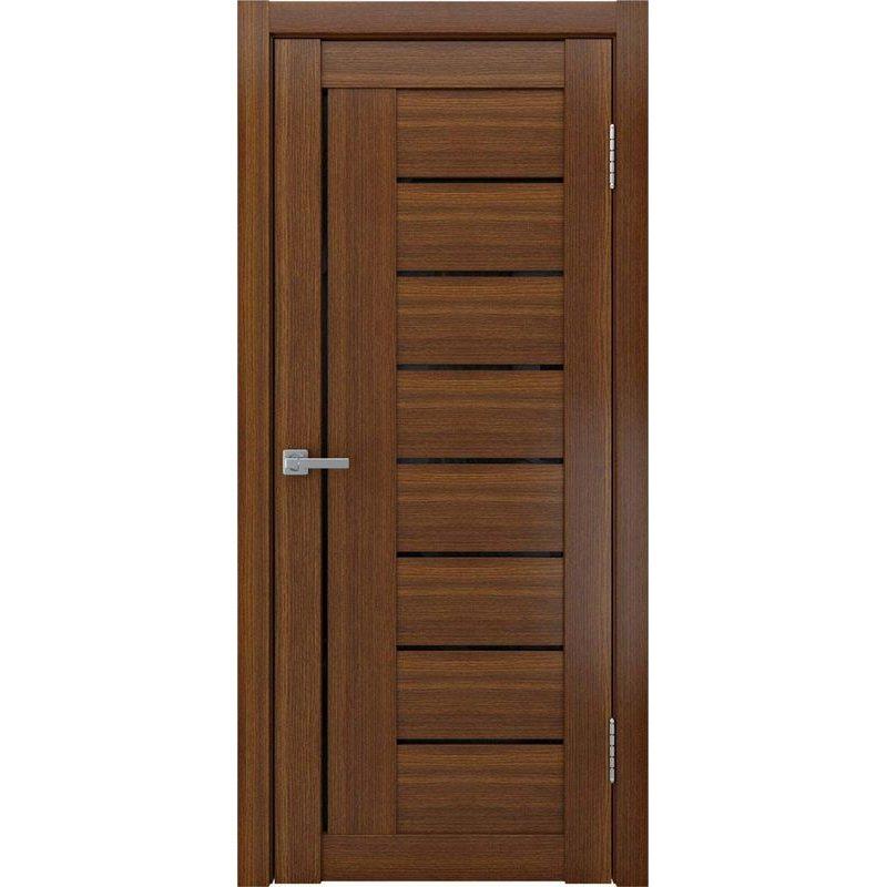 Межкомнатная дверь ЛУ-17 лакобель черный/темный орех