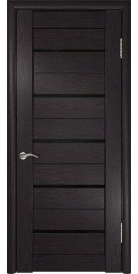 Межкомнатная дверь ЛУ-22 венге лакобель/черное