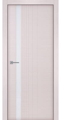 Межкомнатная дверь Симфония беленый дуб, стекло белый лак (кромка ПВХ)