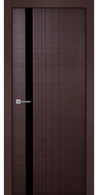 Межкомнатная дверь Симфония венге, стекло черный лак (кромка аллюминиевая)