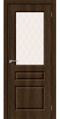 Межкомнатная дверь Скинни-15 dark barnwood/white crystal