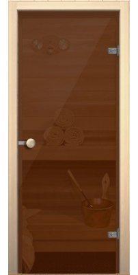 Дверной блок для сауны  Кноб Е бронза тонированное