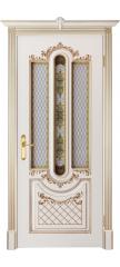 Межкомнатная дверь АЛЕКСАНДРИЯ 2 слоновая кость с золотой патиной ПО