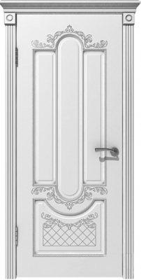 Межкомнатная дверь АЛЕКСАНДРИЯ белая эмаль/патина серебро ПГ