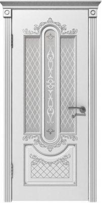 Межкомнатная дверь АЛЕКСАНДРИЯ белая эмаль/патина серебро ПО