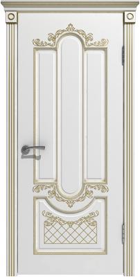 Межкомнатная дверь АЛЕКСАНДРИЯ белая эмаль/патина золото ПГ