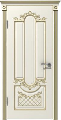 Межкомнатная дверь АЛЕКСАНДРИЯ эмаль слоновая кость/патина золото ПГ