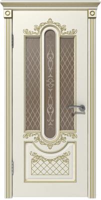 Межкомнатная дверь АЛЕКСАНДРИЯ эмаль слоновая кость/патина золото ПО