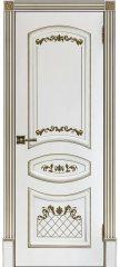 Межкомнатная дверь АЛИНА-2 белая с золотой патиной ПГ
