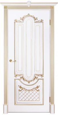 Межкомнатная дверь АЛЕКСАНДРИЯ 2 слоновая кость с золотой патиной ПГ