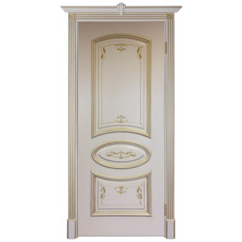 Межкомнатная дверь БАГЕТ-3 слоновая кость с золотой патиной ПГ