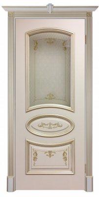 Межкомнатная дверь БАГЕТ-3 слоновая кость с золотой патиной ПО