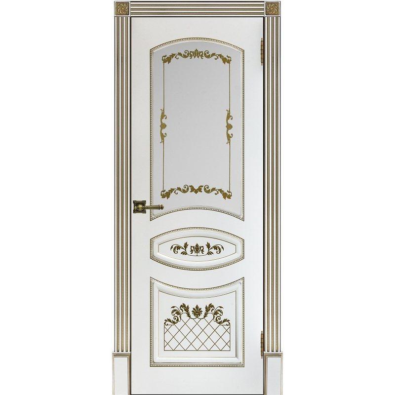 Межкомнатная дверь АЛИНА-2 белая с золотой патиной ПО