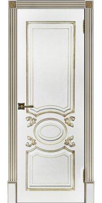 Межкомнатная дверь АРИСТОКРАТ белая эмаль с патиной капучино ПГ