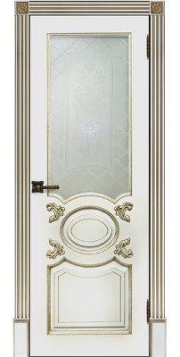 Межкомнатная дверь АРИСТОКРАТ белая эмаль с патиной капучино ПО