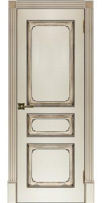Межкомнатная дверь КЛАССИКА-5 слоновая кость с патиной ореx ПГ