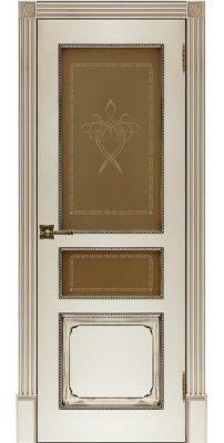 Межкомнатная дверь КЛАССИКА-5 слоновая кость с патиной ореx ПО