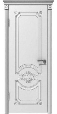 Межкомнатная дверь МИЛАНА белая эмаль/патина серебро ПГ