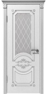 Межкомнатная дверь МИЛАНА белая эмаль/патина серебро ПО