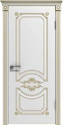 Межкомнатная дверь МИЛАНА белая эмаль/патина золото ПГ