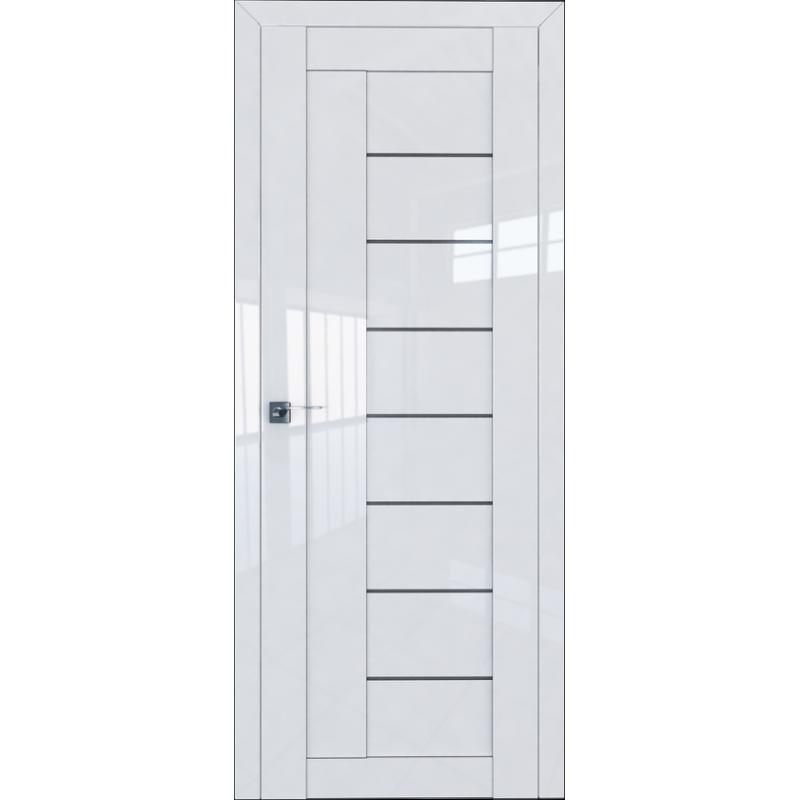 Межкомнатная дверь 17L белый люкс стекло графит