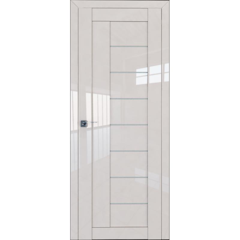 Межкомнатная дверь L 17 магнолия люкс стекло графит
