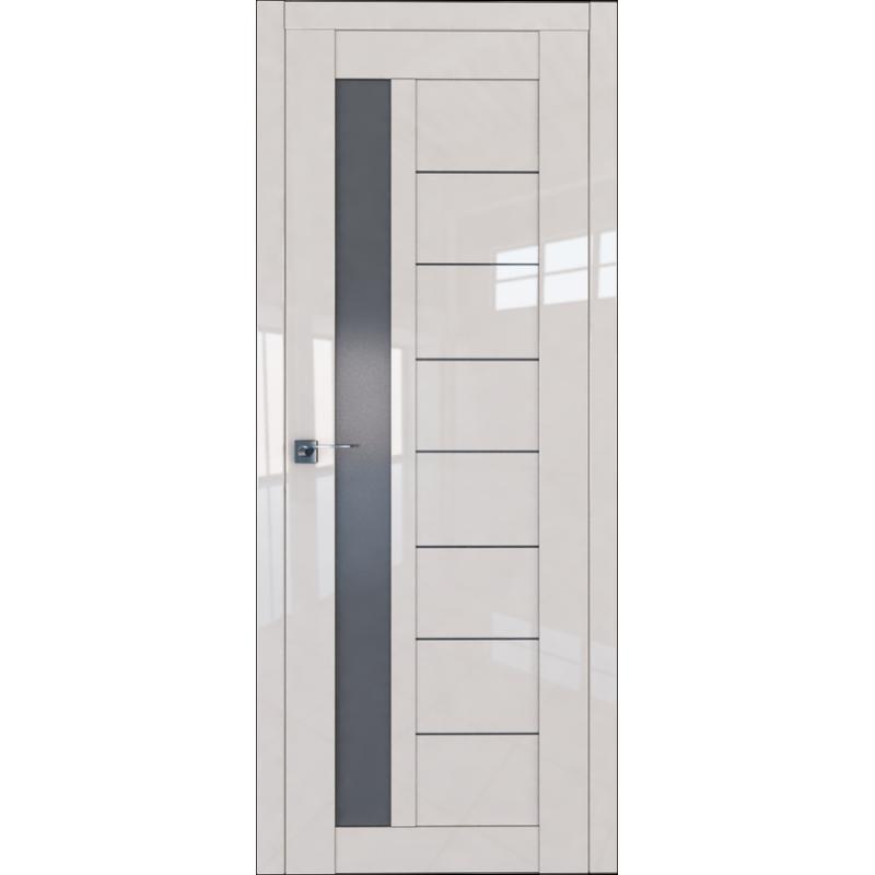 Межкомнатная дверь L 37 магнолия люкс стекло графит