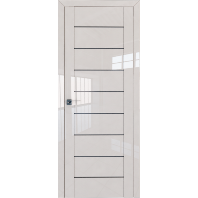 Межкомнатная дверь L 45 магнолия люкс стекло графит