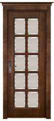 Межкомнатная дверь ЛОНДОН 4 античный орех, стекло матовое с фацетом