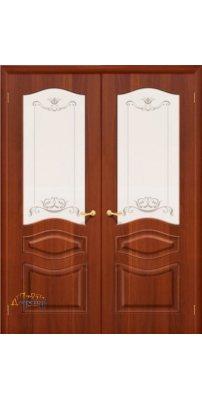 Двустворчатая дверь МОДЕНА итальянский орех ПО