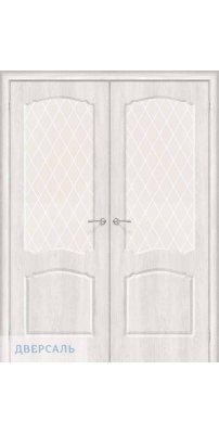 Двустворчатая дверь Альфа-2 casablanca/white crystal