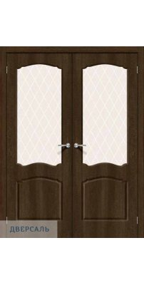 Двустворчатая дверь Альфа-2 dark barnwood/white crystal