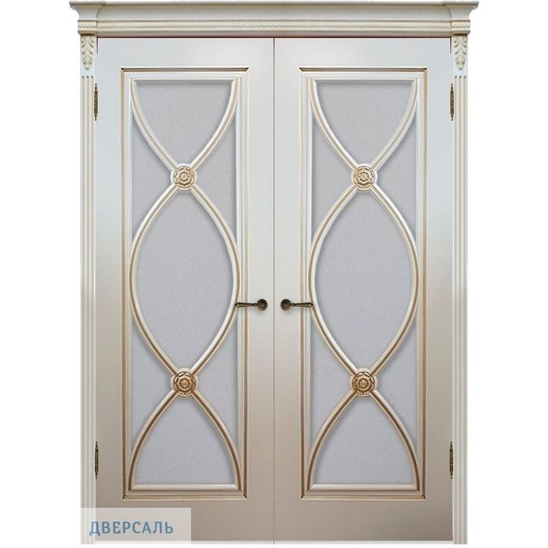 Двустворчатая дверь Фламенко эмаль тон RAL9001 патина золото ПО
