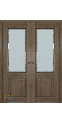 Двустворчатая дверь 2.42XN солинас темный, стекло square
