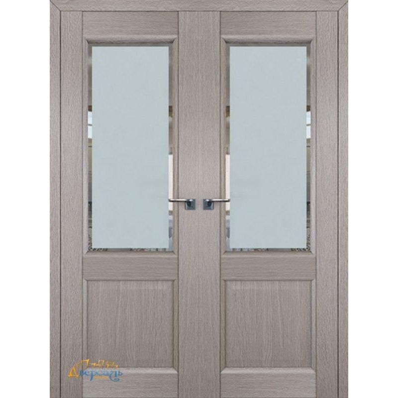 Двустворчатая дверь 2.42XN стоун, стекло square матовое