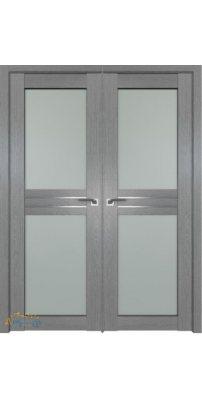 Двустворчатая дверь 2.56XN грувд, стекло матовое AL молдинг