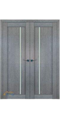 Двустворчатая дверь 2.70XN грувд, стекло графит
