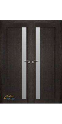 Двустворчатая дверь 2.71XN даркбраун, стекло матовое