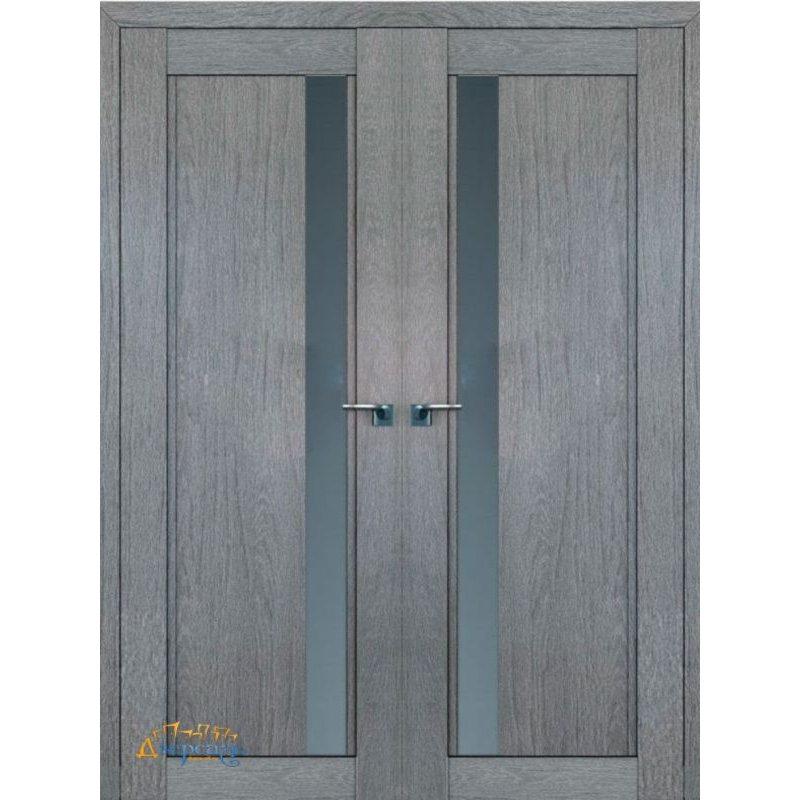 Двустворчатая дверь 2.71XN грувд , стекло графит